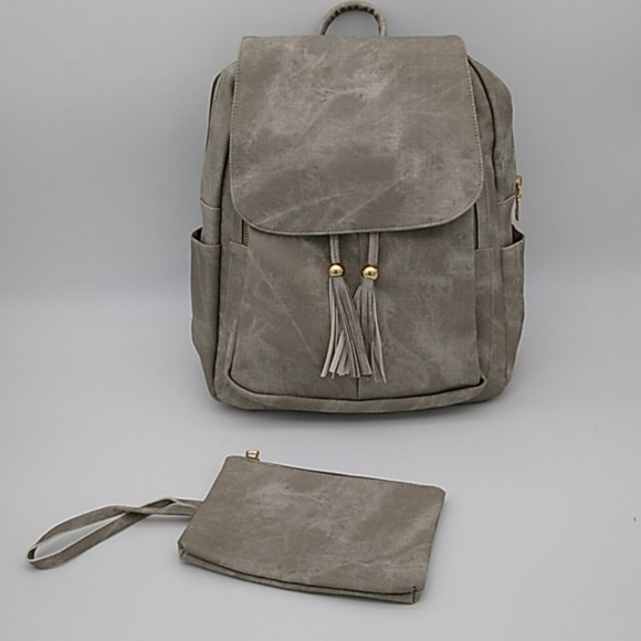 Handbags - Gray Distressed Vegan Leather Large Backpack Purse